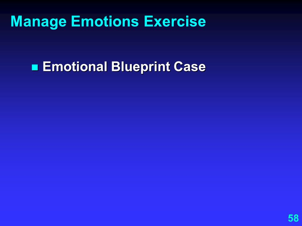 Manage Emotions Exercise
