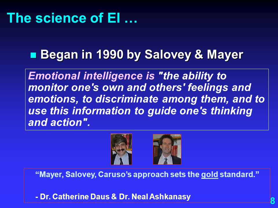 The science of EI … Began in 1990 by Salovey & Mayer