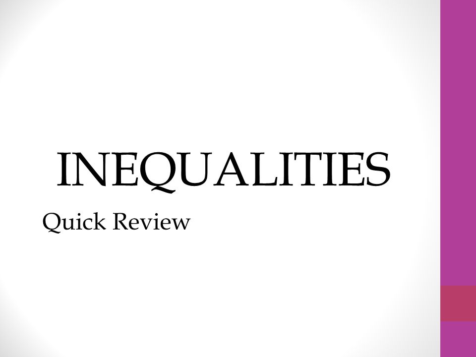 Inequalities Quick Review