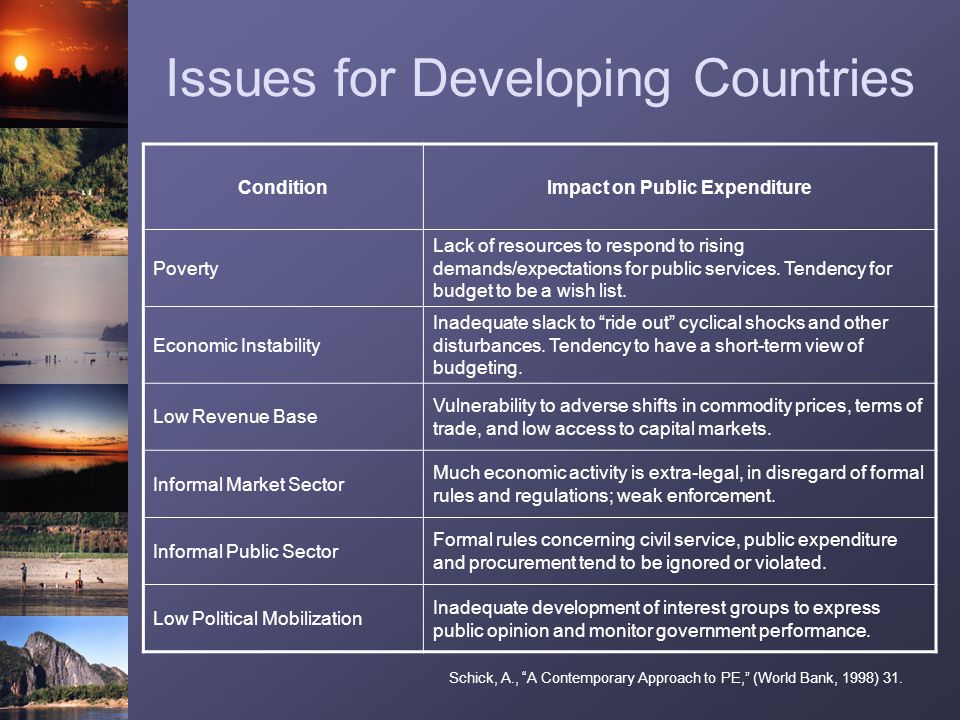 Issues for Developing Countries