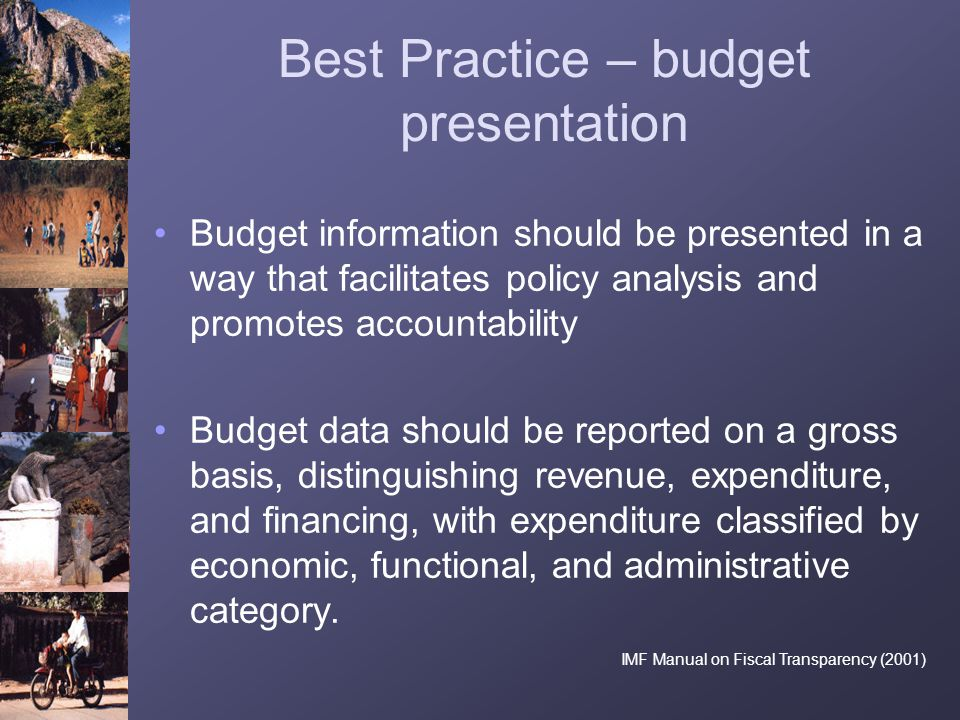 Best Practice – budget presentation