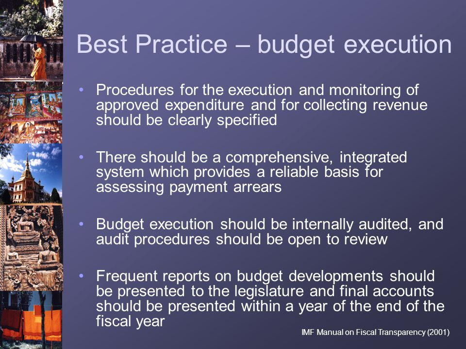 Best Practice – budget execution