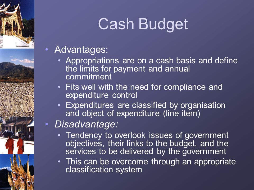 Cash Budget Advantages: Disadvantage: