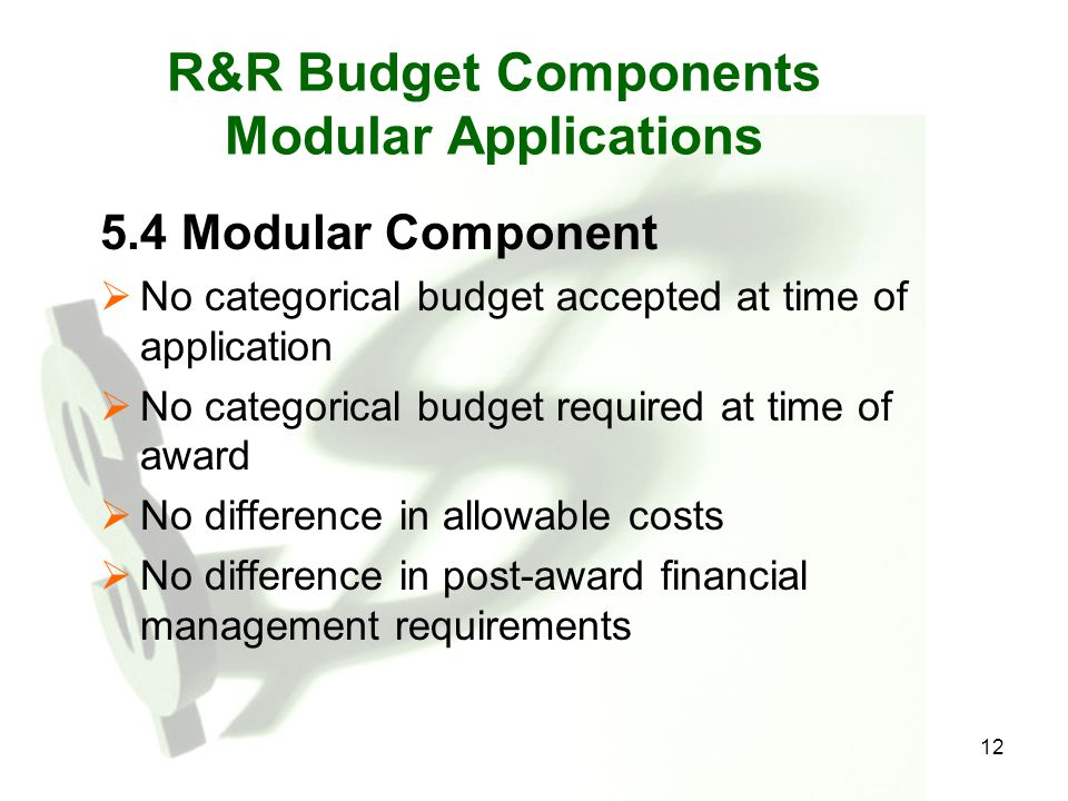 R&R Budget Components Modular Applications