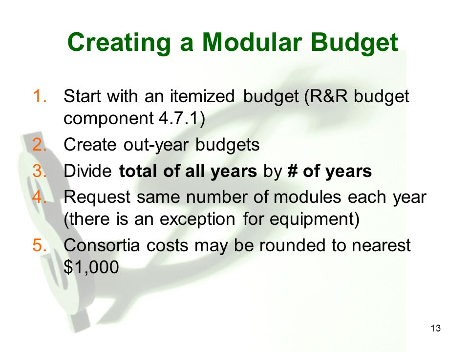 Creating a Modular Budget