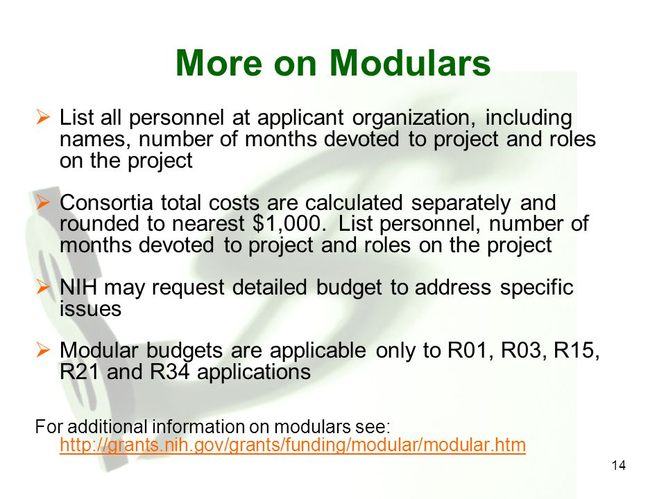 More on Modulars List all personnel at applicant organization, including names, number of months devoted to project and roles on the project.