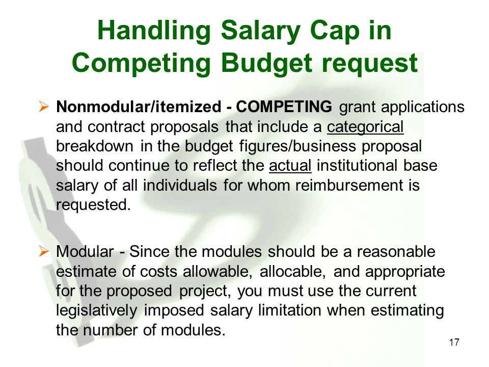 Handling Salary Cap in Competing Budget request