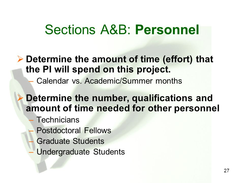 Sections A&B: Personnel