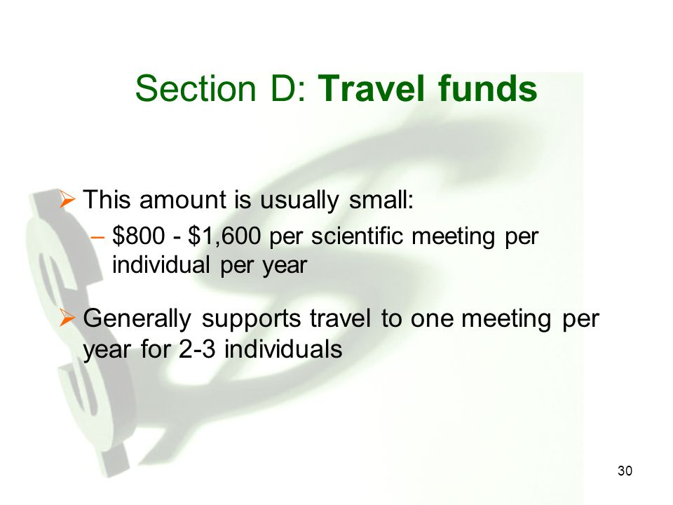 Section D: Travel funds