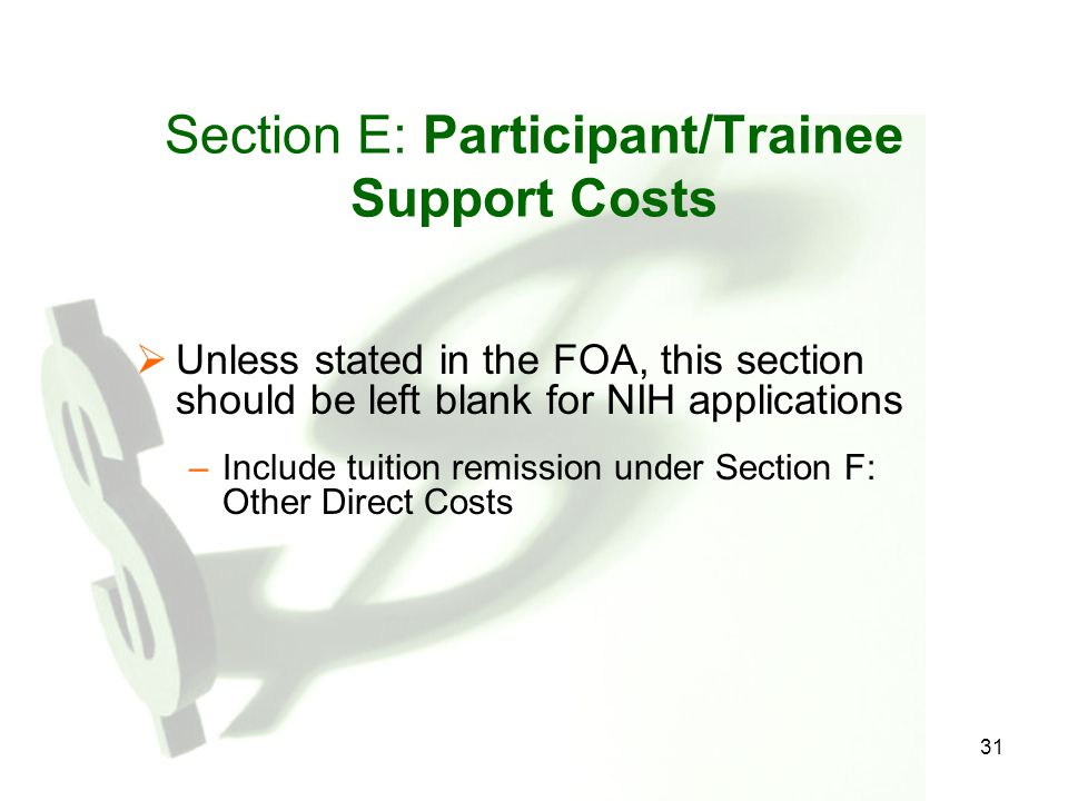 Section E: Participant/Trainee Support Costs