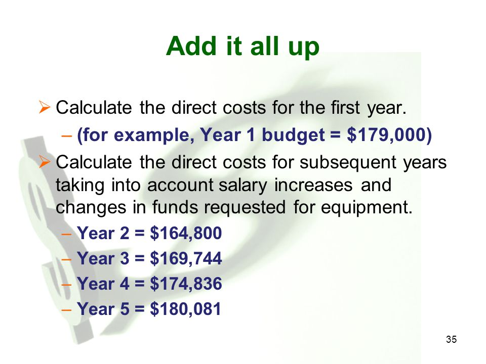 Add it all up Calculate the direct costs for the first year.