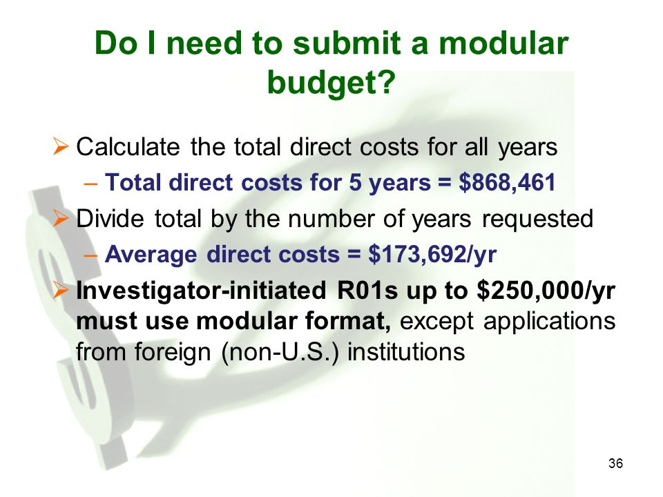 Do I need to submit a modular budget