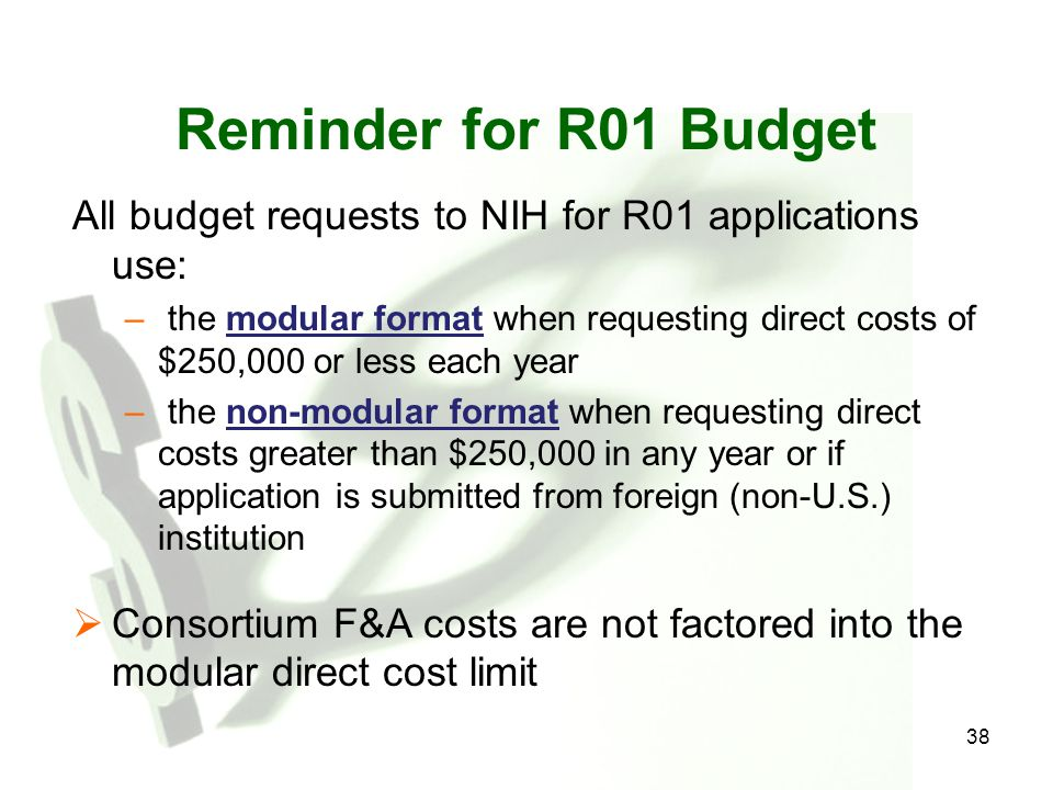 Reminder for R01 Budget All budget requests to NIH for R01 applications use: