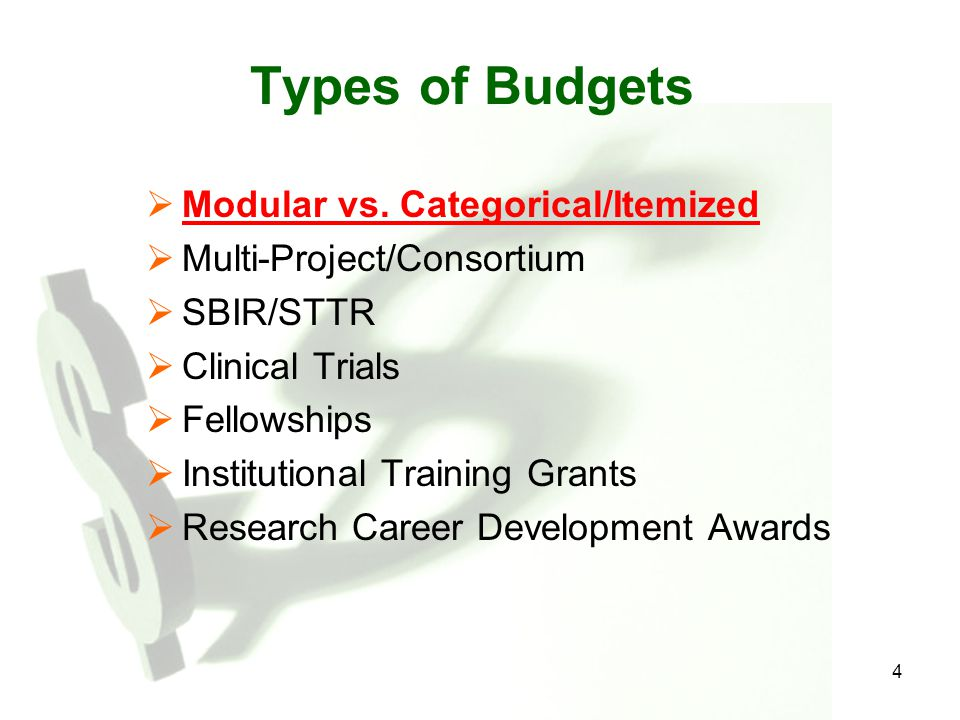 Types of Budgets Modular vs. Categorical/Itemized