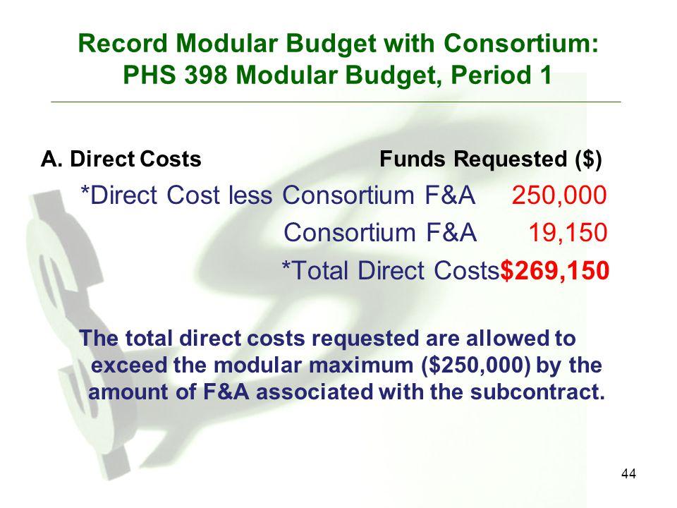 Record Modular Budget with Consortium: PHS 398 Modular Budget, Period 1