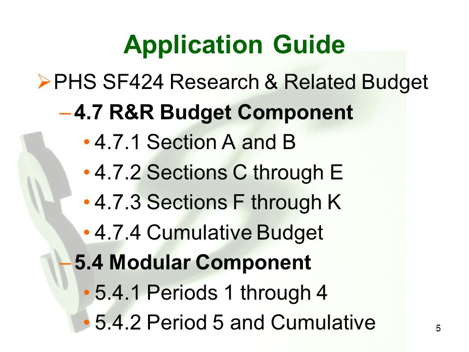 Application Guide PHS SF424 Research & Related Budget