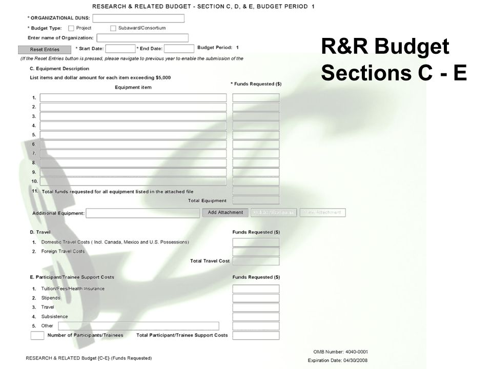R&R Budget Sections C - E