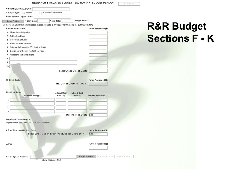 R&R Budget Sections F - K