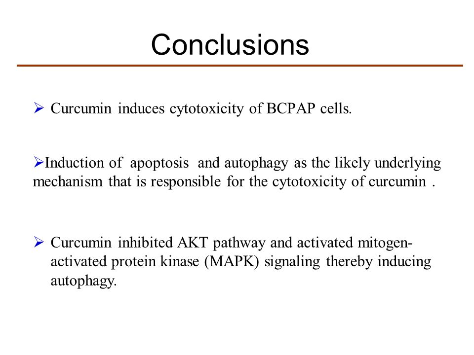 Conclusions Curcumin induces cytotoxicity of BCPAP cells.