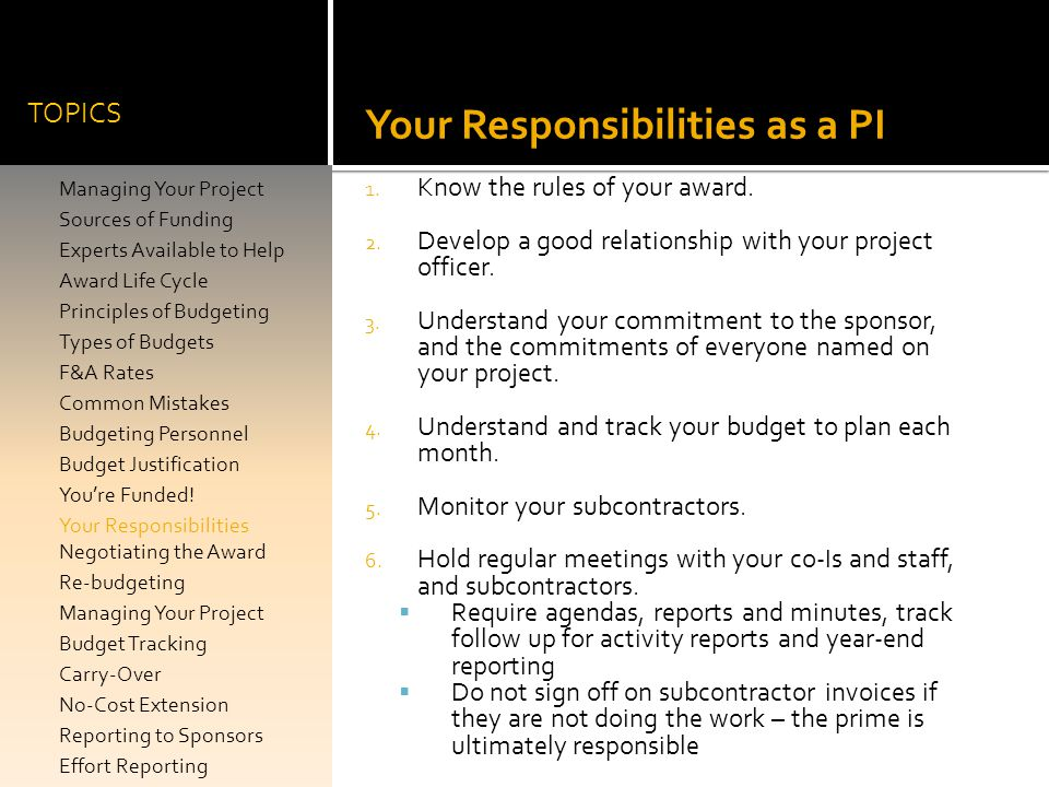 Your Responsibilities as a PI
