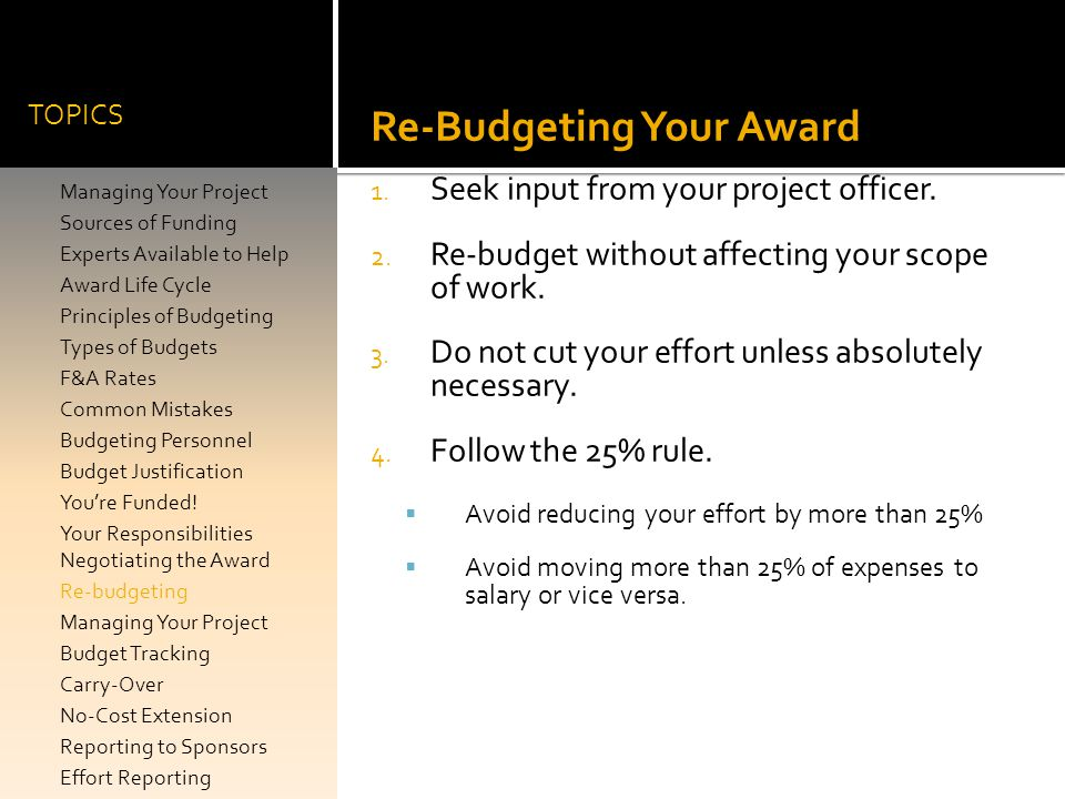 Re-Budgeting Your Award
