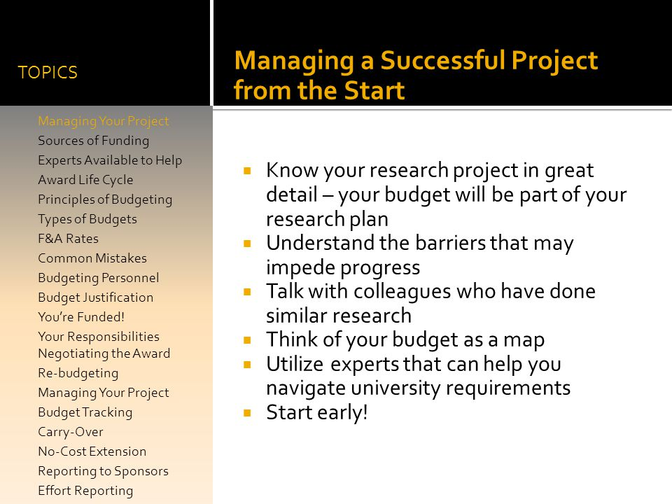 Managing a Successful Project from the Start