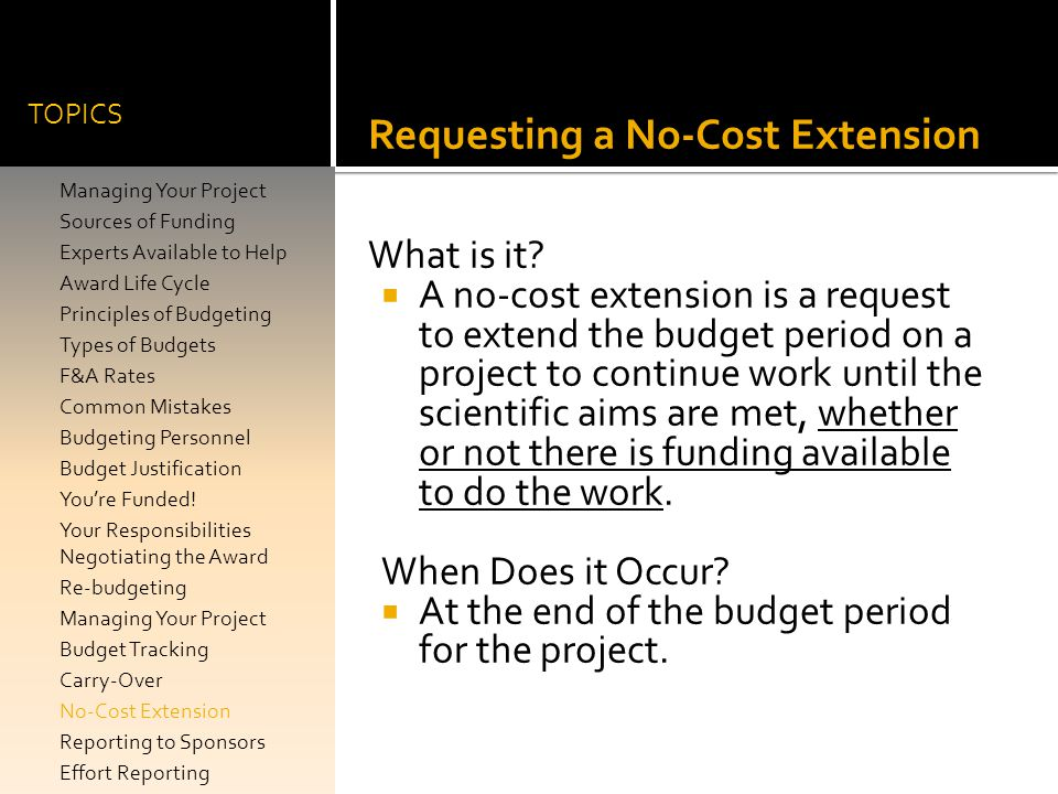 Requesting a No-Cost Extension