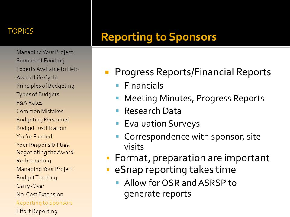 Reporting to Sponsors Progress Reports/Financial Reports