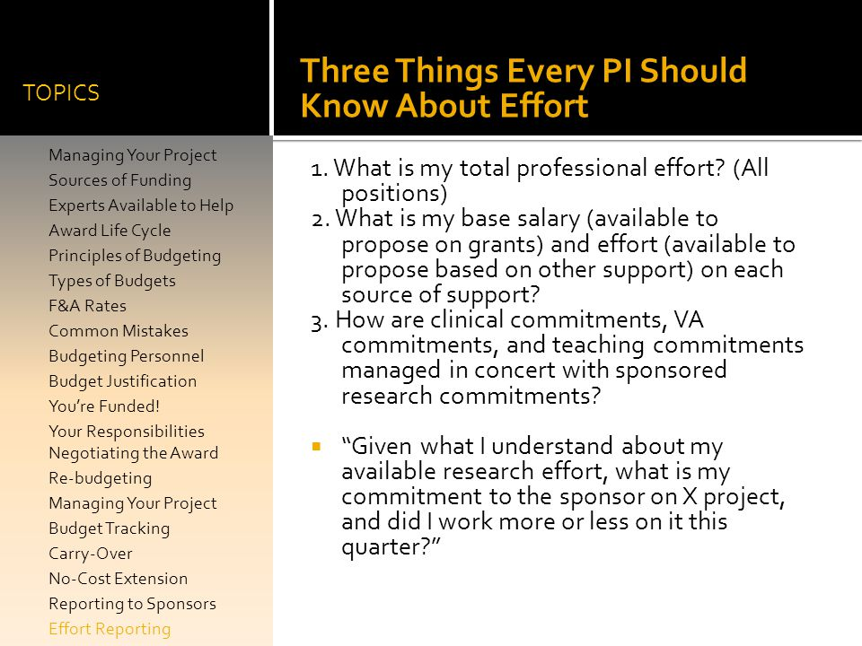Three Things Every PI Should Know About Effort