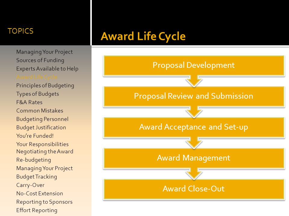 Award Life Cycle Proposal Development Proposal Review and Submission