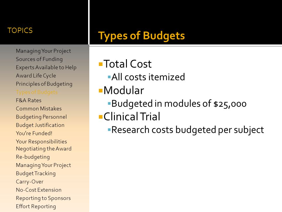 Types of Budgets Total Cost Modular Clinical Trial All costs itemized