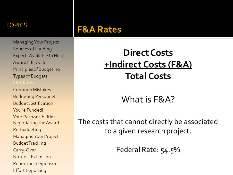 Direct Costs +Indirect Costs (F&A) Total Costs