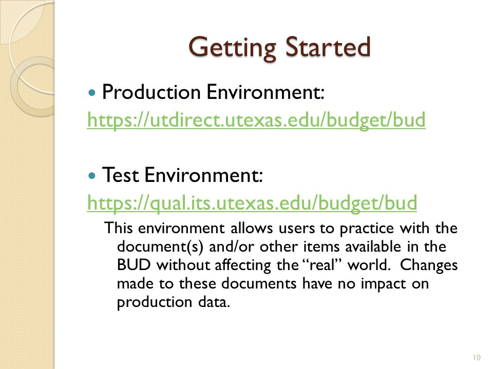 Getting Started Production Environment:
