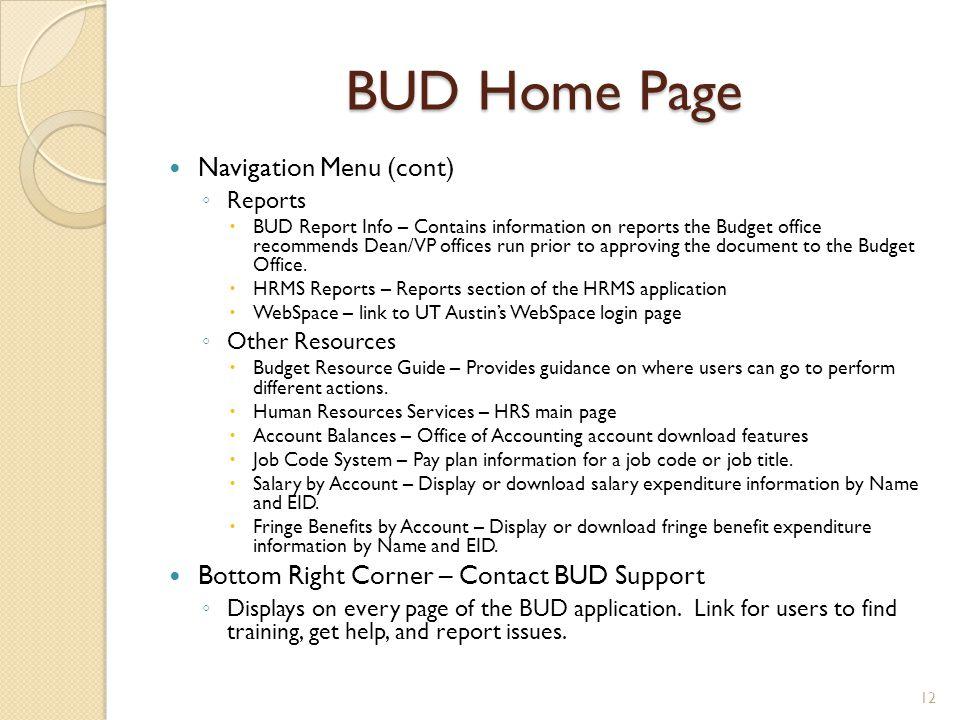 BUD Home Page Navigation Menu (cont)