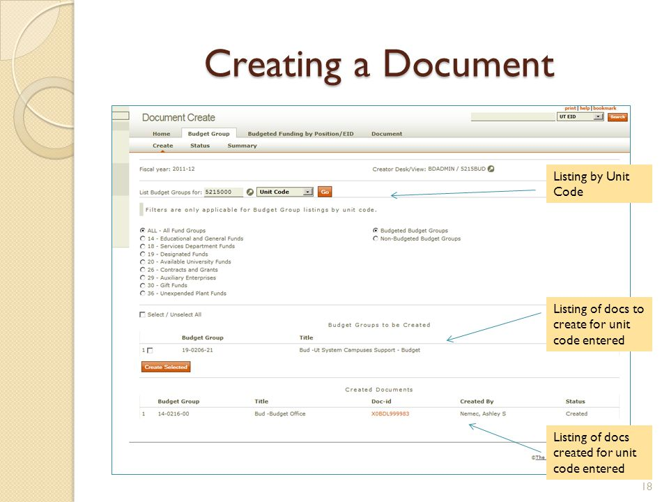 Creating a Document Listing by Unit Code