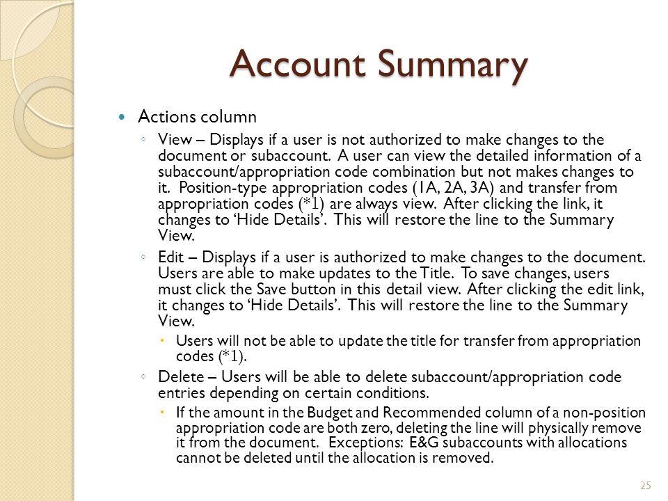 Account Summary Actions column