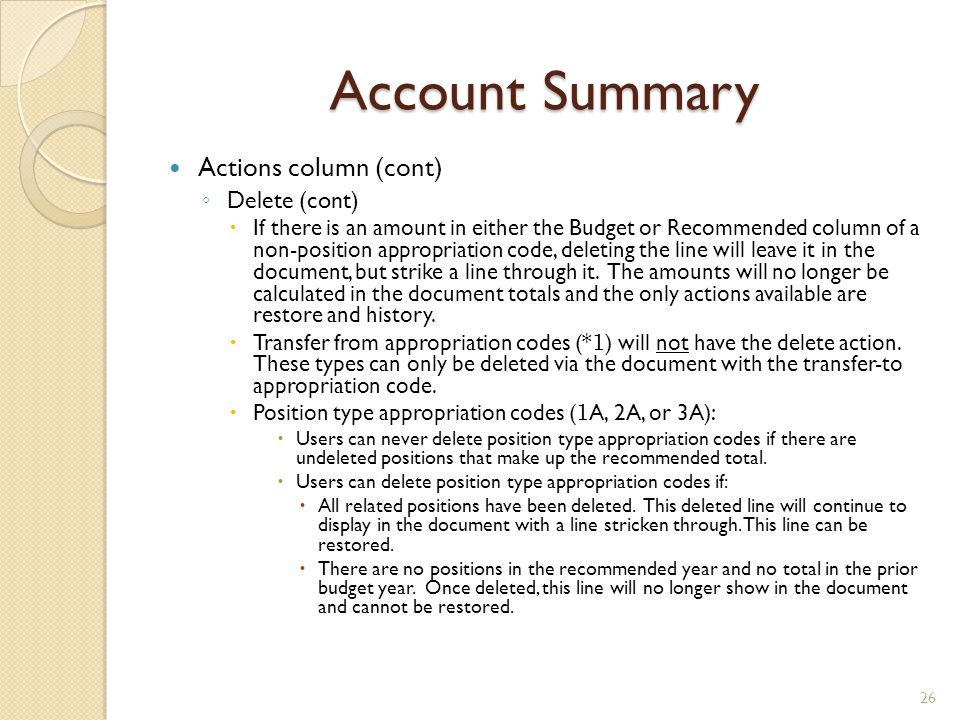 Account Summary Actions column (cont) Delete (cont)