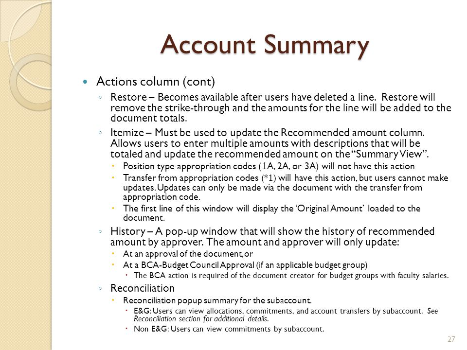 Account Summary Actions column (cont)