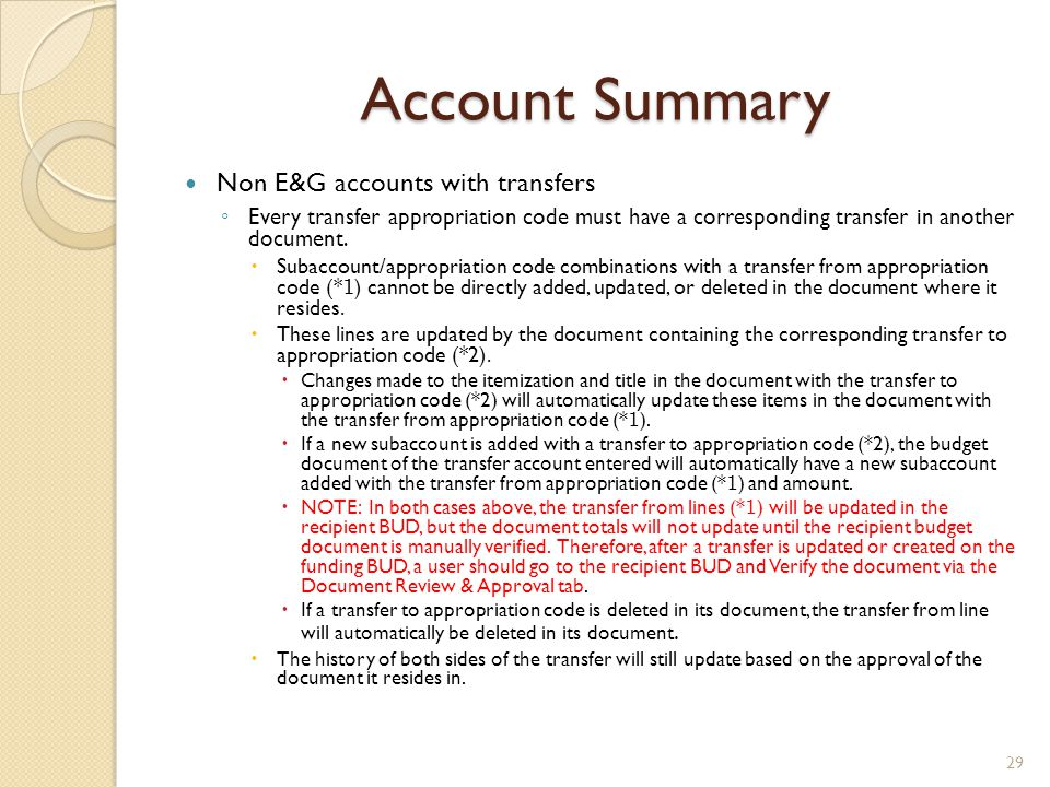 Account Summary Non E&G accounts with transfers
