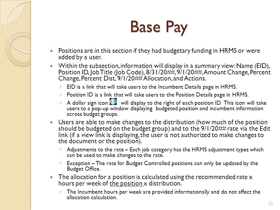 Base Pay Positions are in this section if they had budgetary funding in HRMS or were added by a user.