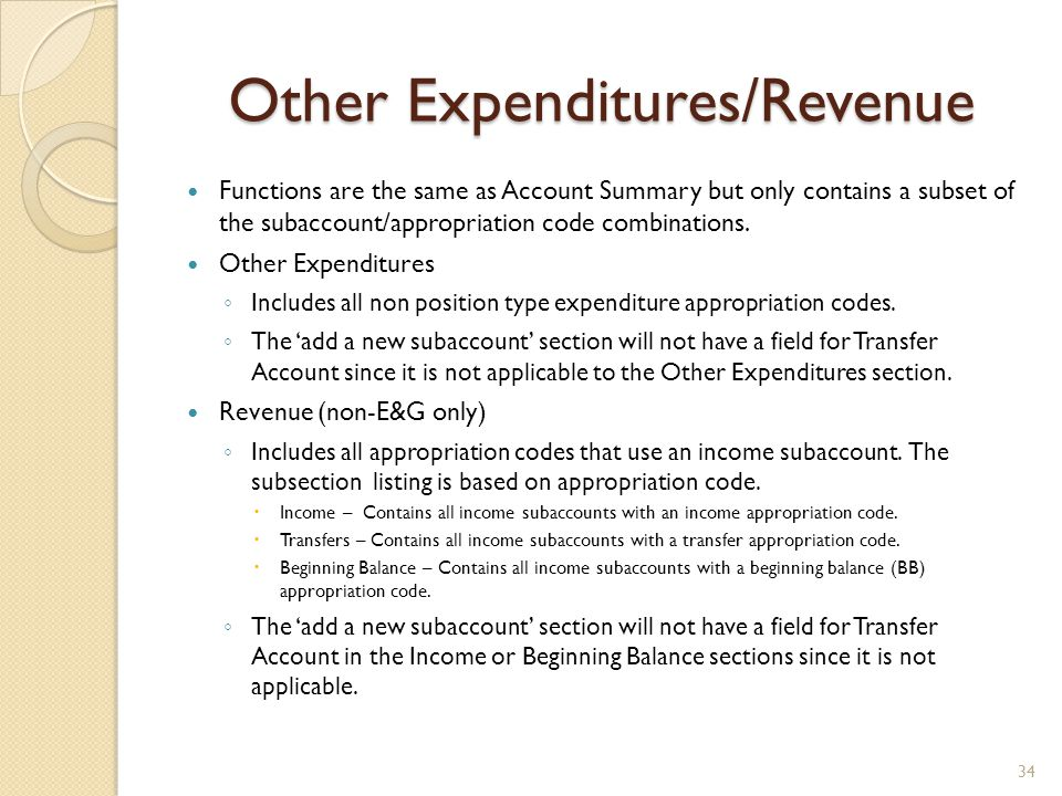 Other Expenditures/Revenue