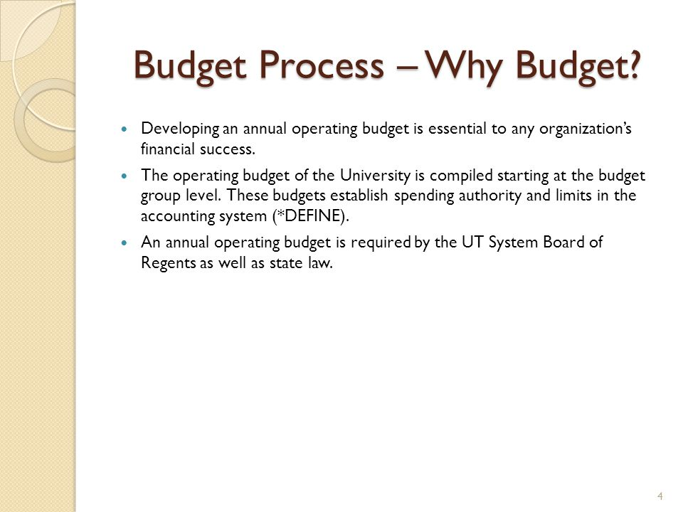 Budget Process – Why Budget