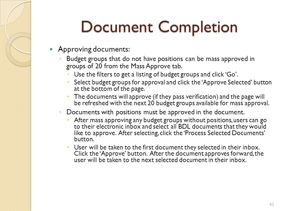 Document Completion Approving documents: