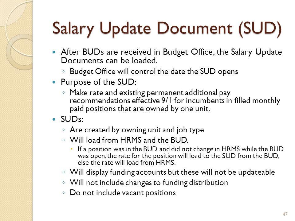 Salary Update Document (SUD)