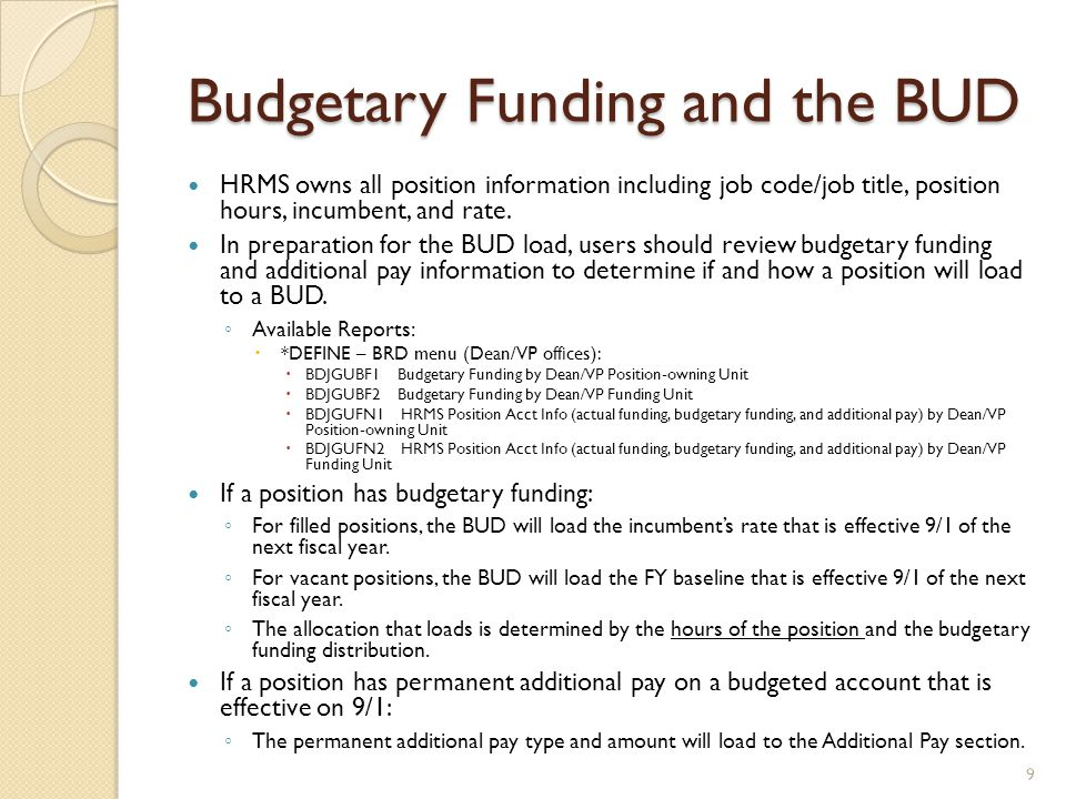 Budgetary Funding and the BUD
