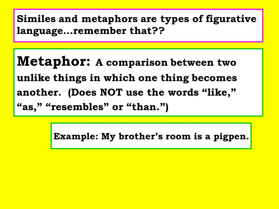 Example: My brother's room is a pigpen.