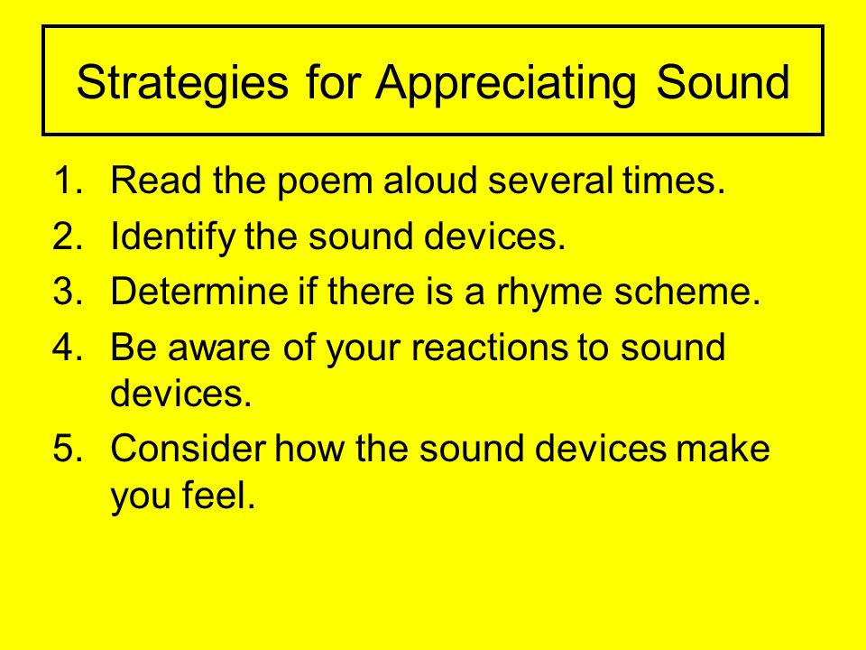 Strategies for Appreciating Sound