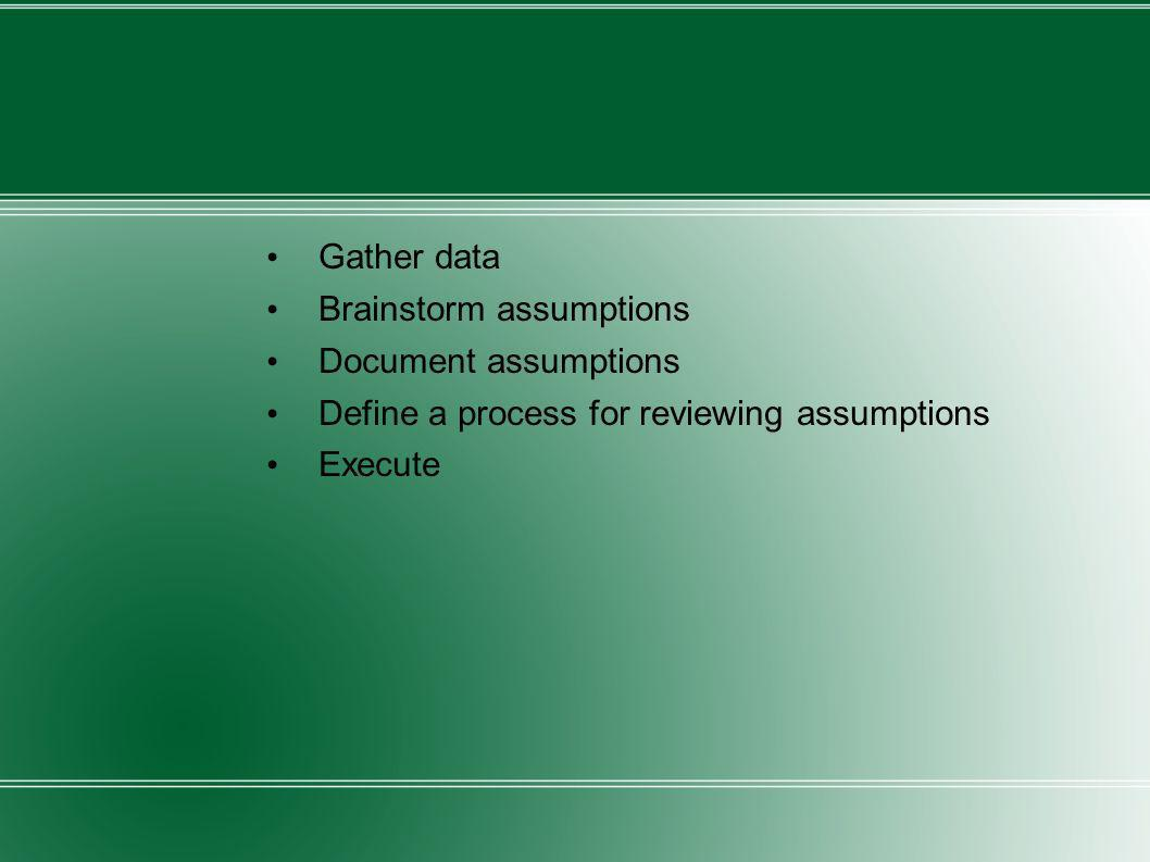 Gather dataBrainstorm assumptions. Document assumptions. Define a process for reviewing assumptions.