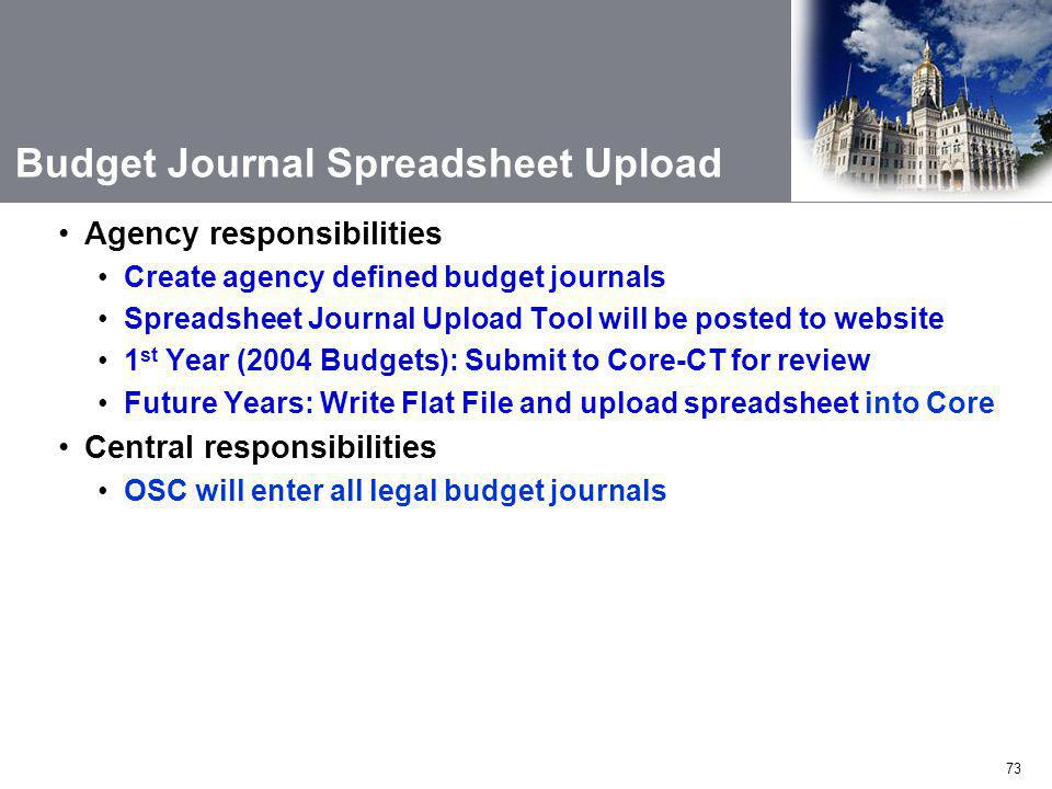 Budget Journal Spreadsheet Upload