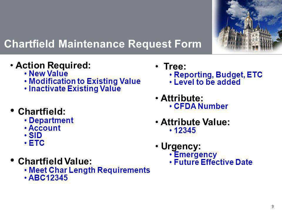 Chartfield: Chartfield Value: Chartfield Maintenance Request Form
